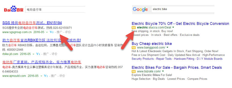 Baidu scandal paid search results vs. Google