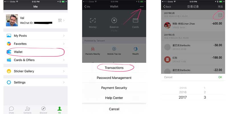WeChat features transaction history
